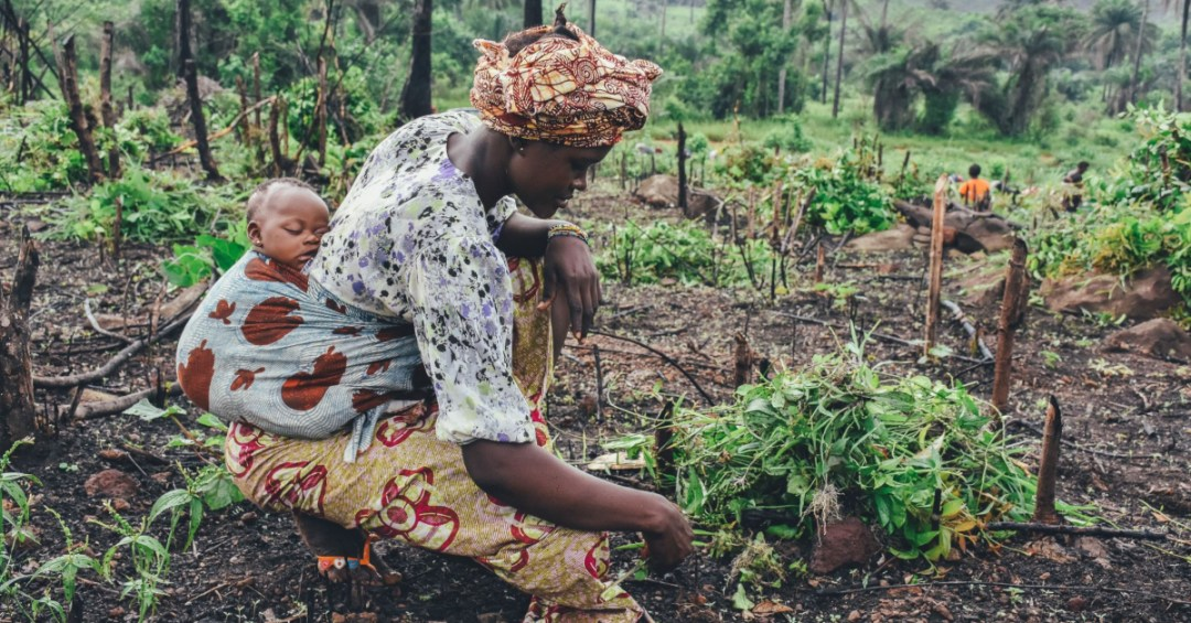 African woman with baby on her back while working farming