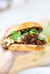 Easy Macro-Friendly pulled pork sandwich with cilantro lime apple slaw