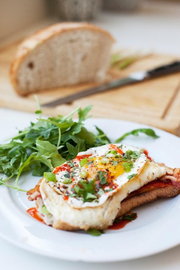 Sriracha and Roasted Red Pepper Sourdough Egg Toast