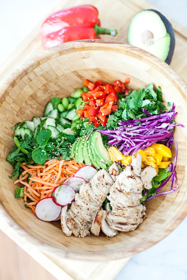 Quick Thai Chicken Salad with Spicy Peanut Dressing