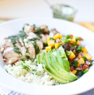 Cauliflower Rice Bowl with Mango, grilled chicken, and Light Chimichurri