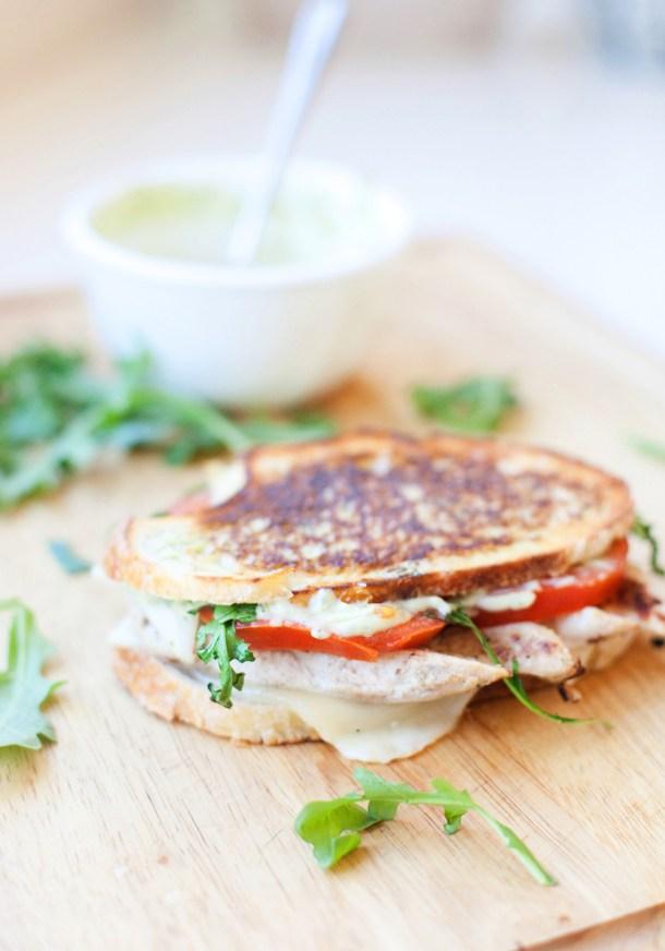 A macro-friendly chicken pesto panini