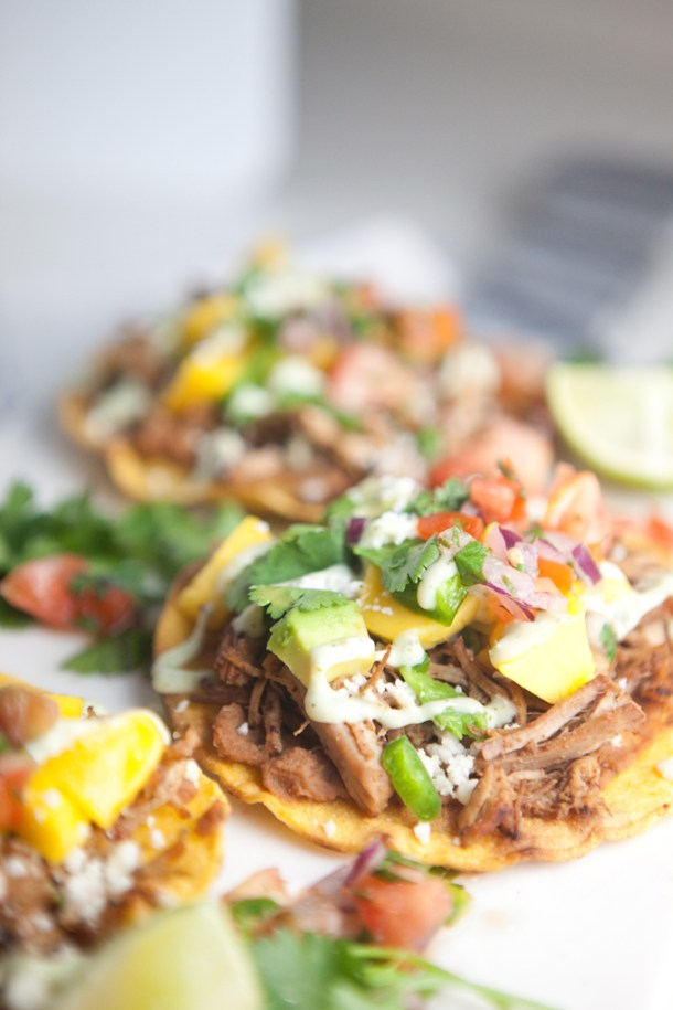 Tostadas with THE BEST Slow Cooker Salsa Verde Carnitas ...