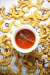 Light and macro friendly Lemon Parmesan Roasted Delicata Squash
