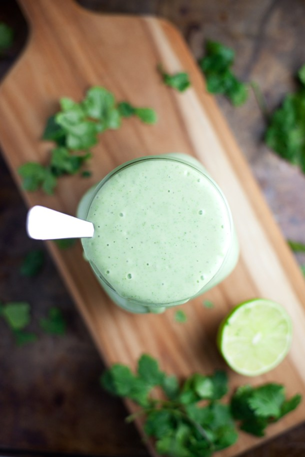 Lightened Up Creamy Cilantro Lime Ranch- SOOO macro friendly... you can pile it on!