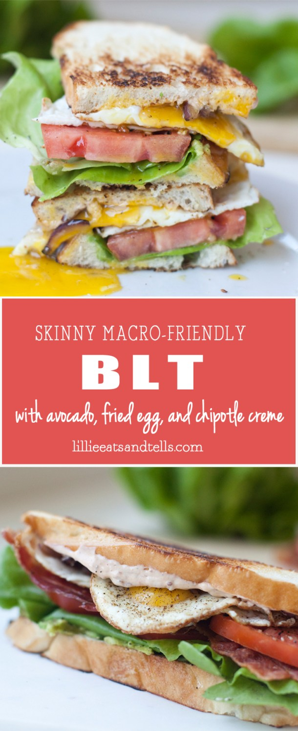 BLT with avocado, fried egg, grilled onions and fat free chipotle creme www.lillieeatsandtells.com