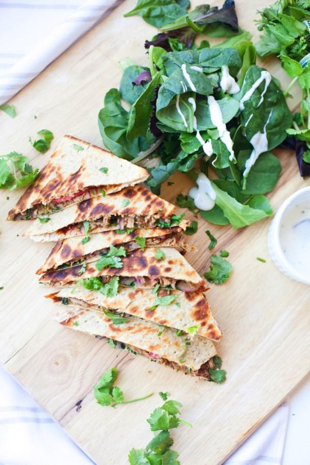 BBQ Pulled Pork Lavash Quesadilla www.lillieeatsandtells.com