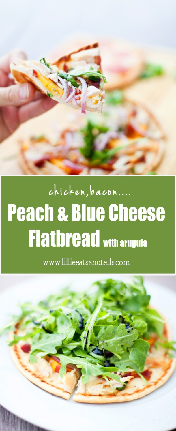chicken, bacon, peach and blue cheese flatbread www.lillieeatsandtells.com