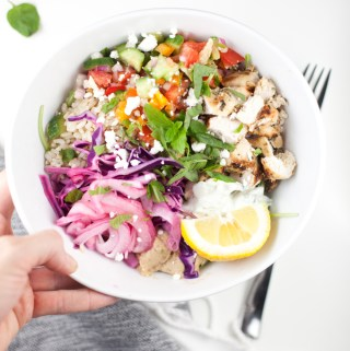 Mediterranean Grain bowl - copycat Cava #macrofriendly #healthy #mediterranean #greek www.lillieeatsandtells.com