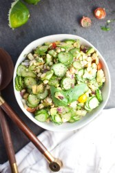 Perfect for a barbecue! One of my favorite non-leafy side salads. Cucumber Corn Summer Salad #macrofriendly #healthy #cookinglight www.lillieeatsandtells.com