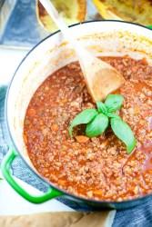 Pot of homemade healthy turkey bolognese