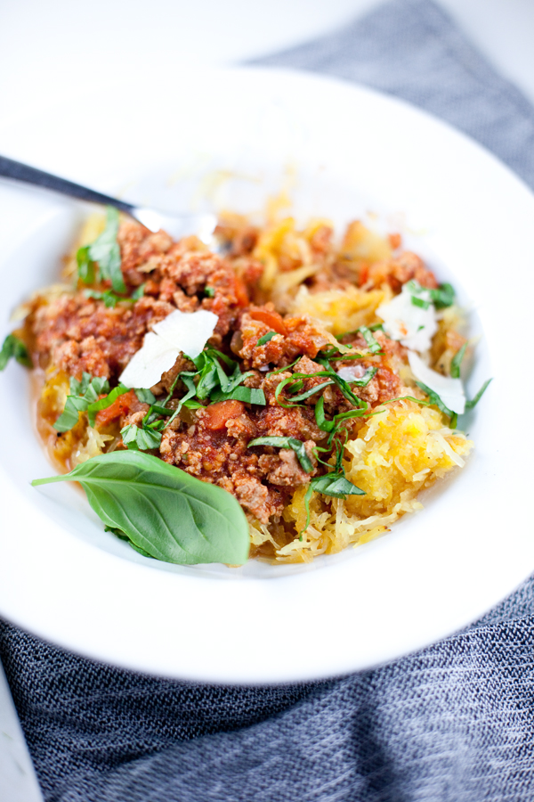 Bowl of turkey bolognese over spaghetti squash