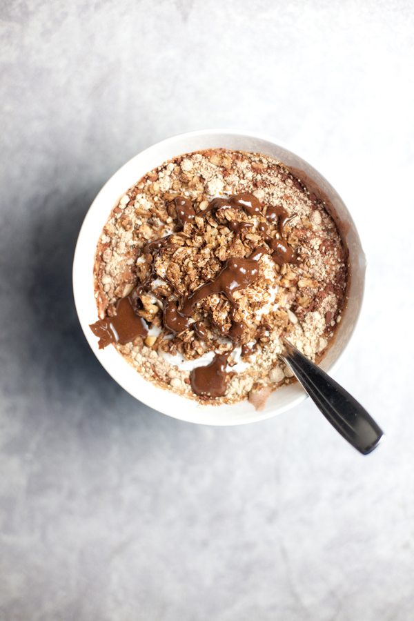 Chunky Peanut Butter Protein Shake in a bowl with toppings
