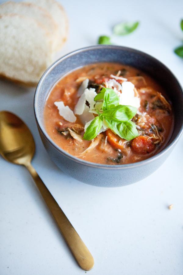 Instant Pot Creamy Tomato Chicken Soup in a bowl