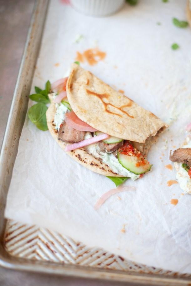 A delicious macro-friendly steak pita recipe from www.lillieeatsandtells.com