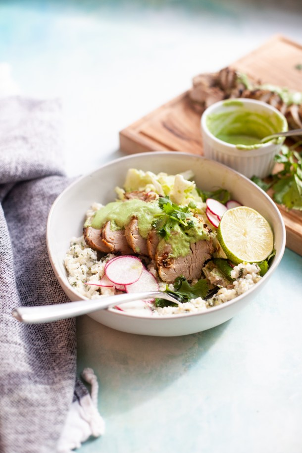 www.lillieeatsandtells.com recipe for pineapple cilantro jalapeno air fried pork tenderloin. serving suggestion with cilantro rice