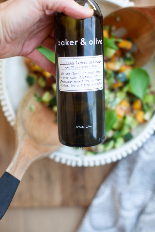 baker and olive white balsamic vinegar served on a peach chopped caprese salad by www.lillieeatsandtells.com