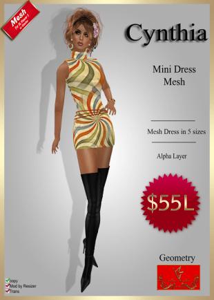 [55] Cynthia - Mesh Mini Dress - GeometryPIC