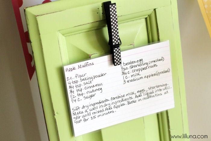 Super cute and easy Recipe Holder tutorial { lilluna.com } This is a great gift idea!!
