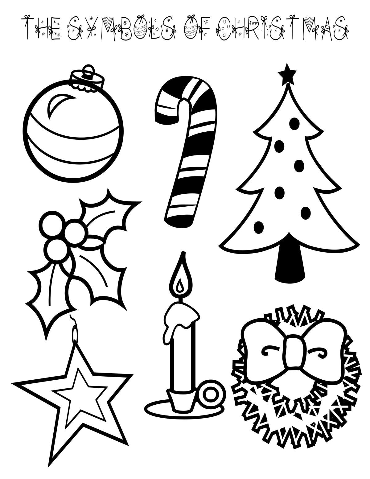 Symbols Of Christmas Coloring Page