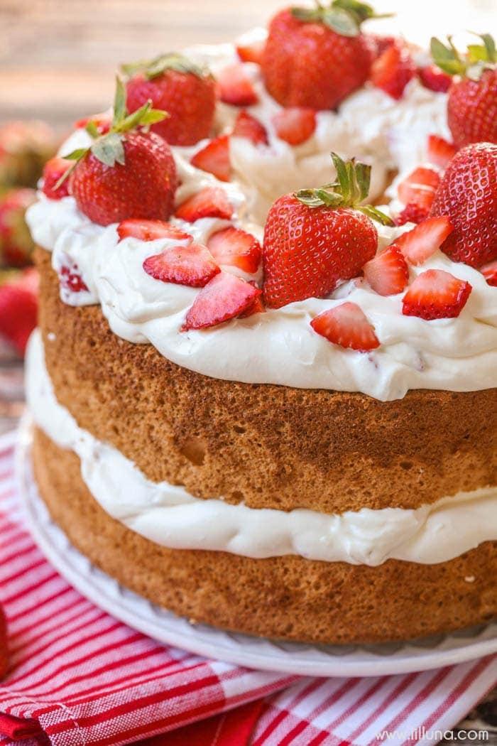 Strawberries And Cream Angel Food Cake Breakfast