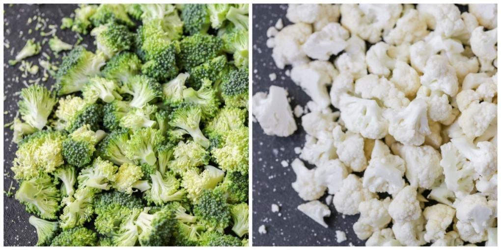 Chopped Broccoli and Cauliflower