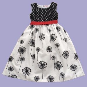 B&W Dandelions and Dots Dress - Front View