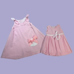 Pink Seersucker Dress and Adorable Matching Bubble