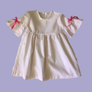White and Raspberry Pink Dots with Bell Sleeves Dress - Front
