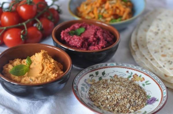 Beetroot red pepper hummus with dukkah Lilly Higgins
