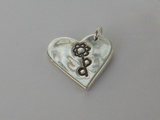 Heart finger hand foot paw print solid silver pendant charm