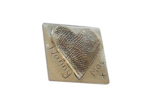 Hear finger hand foot paw print square bar solid silver