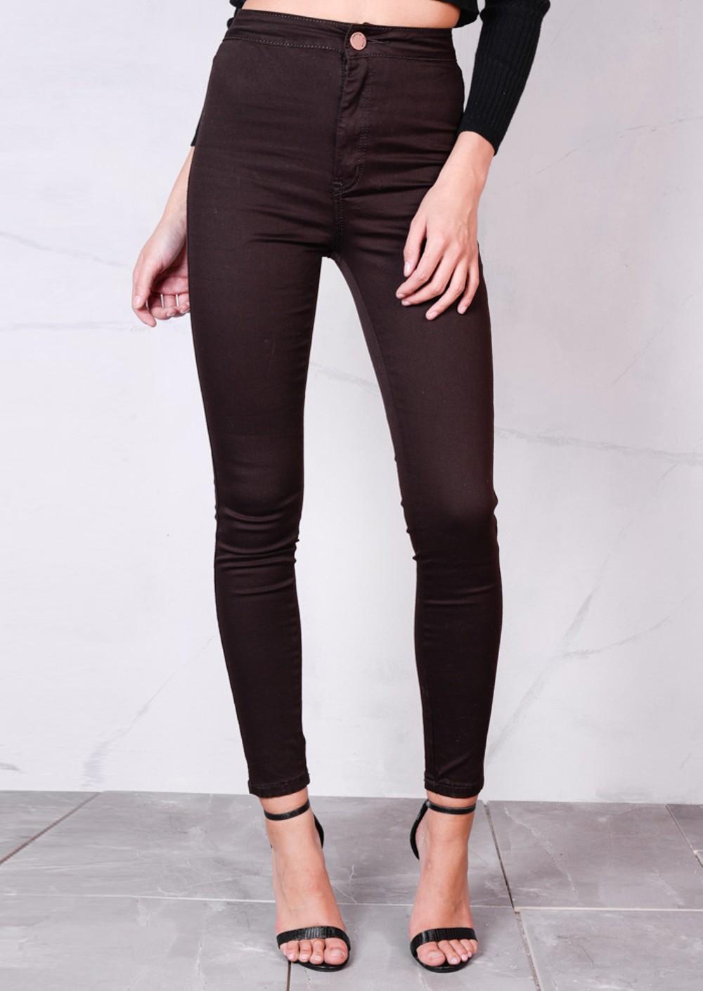High Waisted Super Skinny Denim Jeans Brown