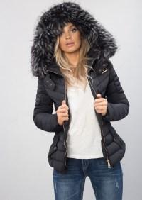 Black puffer coat with black fur hood - Cheap Jackets