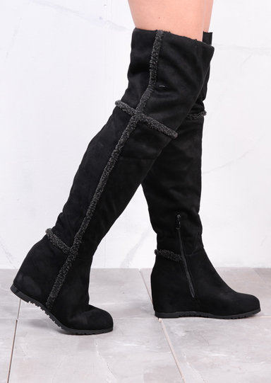 Black Faux Fur Trim Knee High Lace Wedge Boots