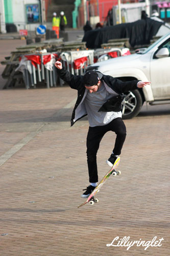 Skater trying a small leap trick