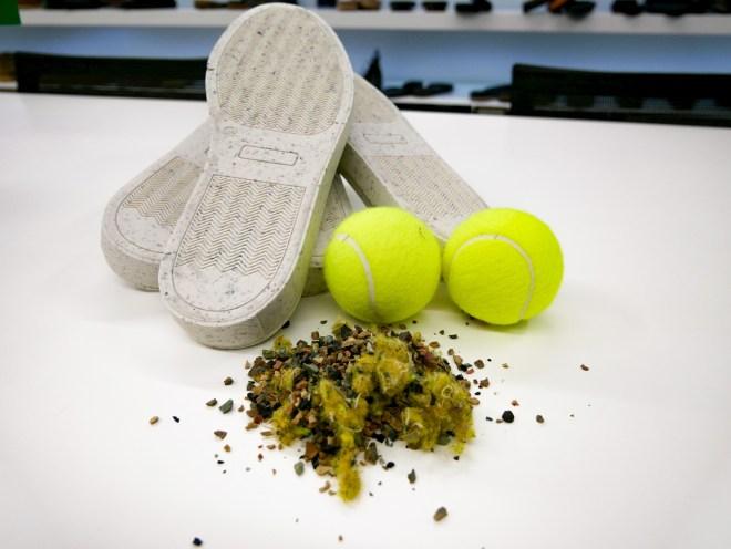 suole scarpe ecologiche riciclo palline tennis