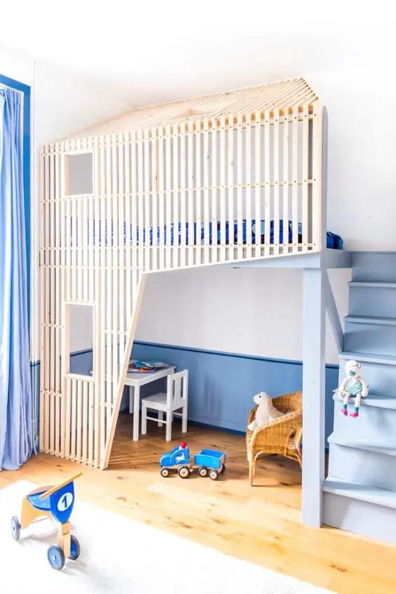 chambre-enfant-lit-panneau-bois