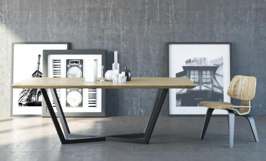 Table industrielle en bois et métal avec pieds croisés
