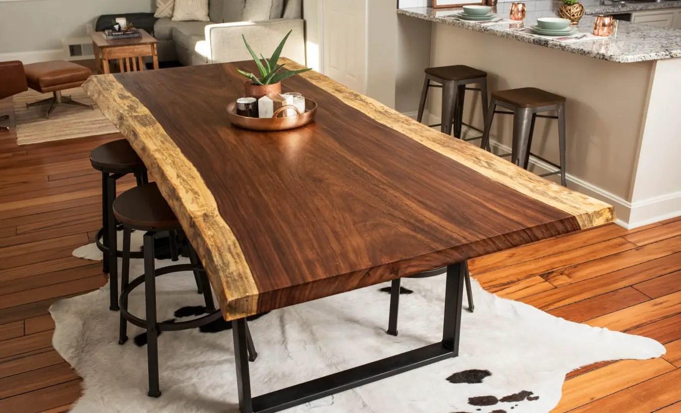 Table en bois brut l 39 ind modable lilm - Table cuisine bois brut ...