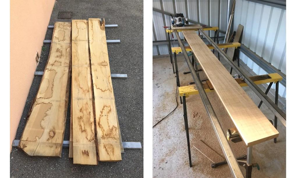 planches : première étape de la fabrication d'une table
