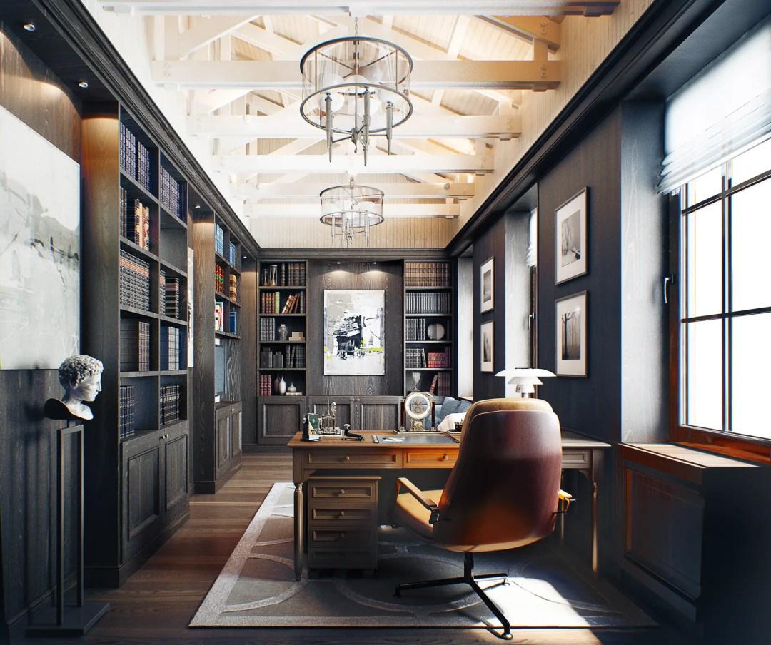 Un bureau très classique et élégant pour les amoureux des livres
