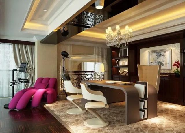 Un bureau de luxe moderne avec quelques touches de fantaisies