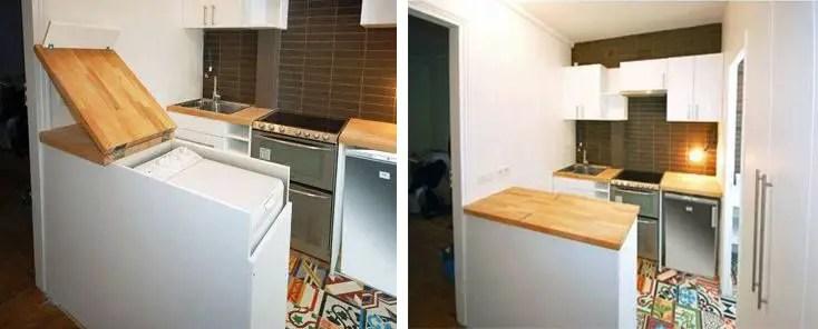 aménagement d'un petit espace, machine à laver et plan de travail