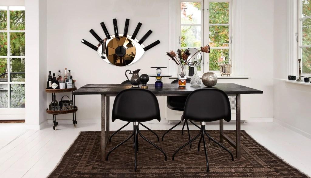 Miroir design en forme d'oeil avec couleur noire et bronze