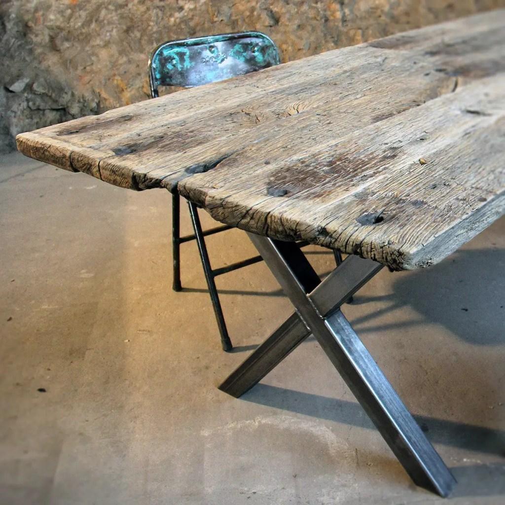 Table vieux plancher, table bois rustique