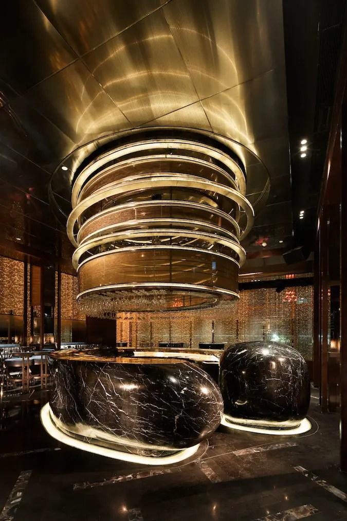 Bar en marbre arrondi en Chine