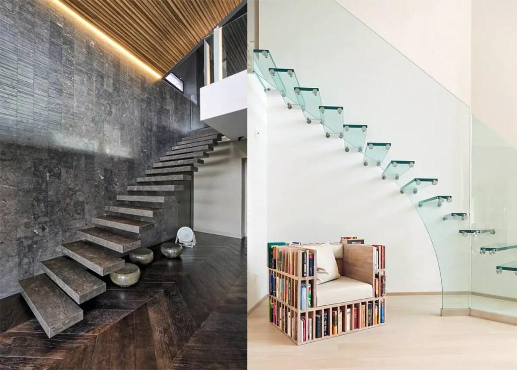 Escalier en verre et en pierre