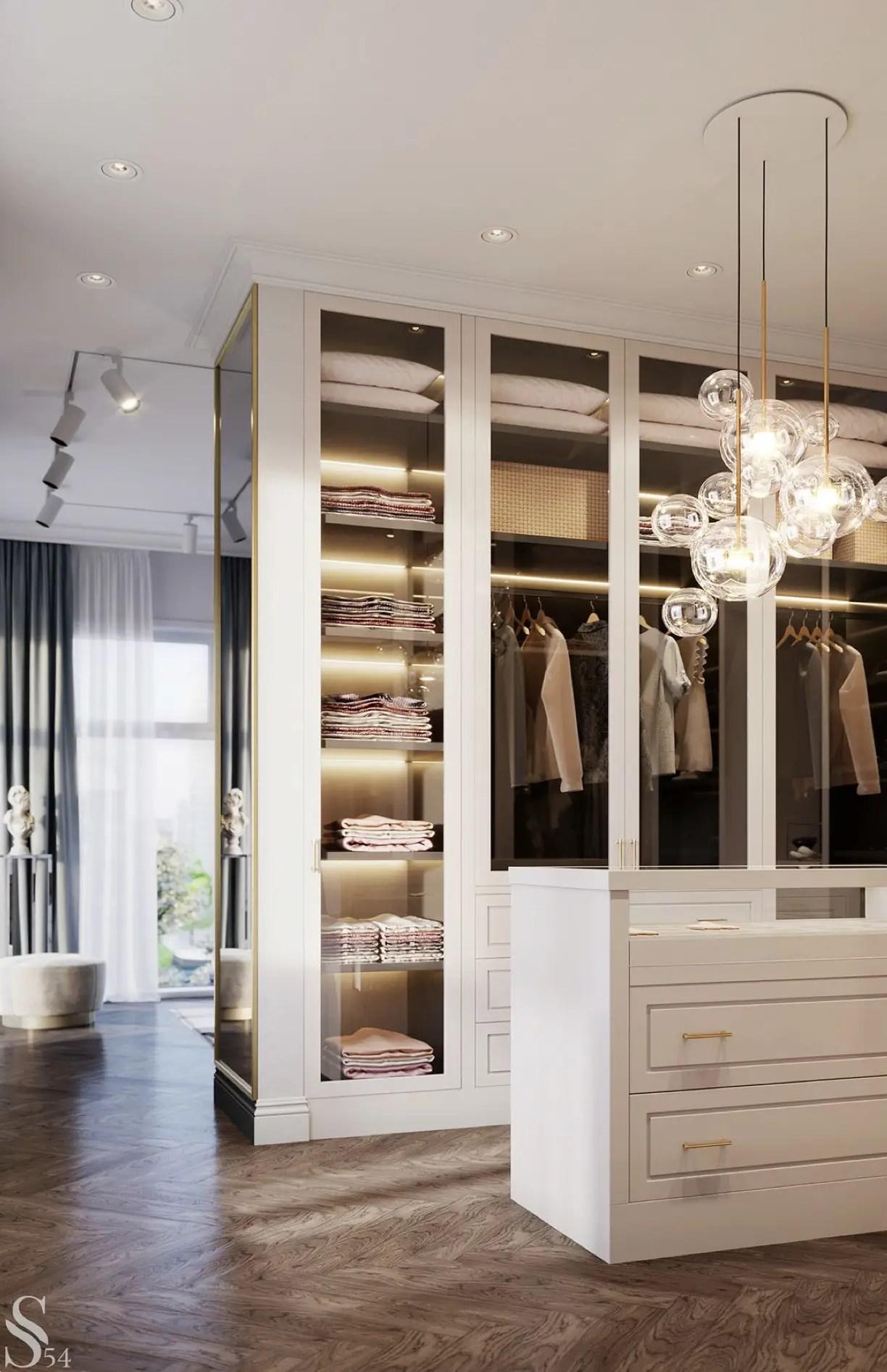 Un dressing moderne en blanc.