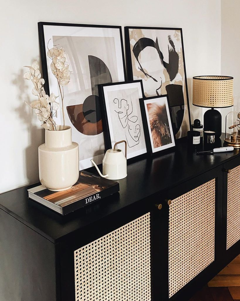 meuble en cannage noir et rotin